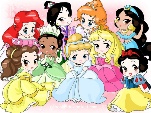 Disney Princess wallpaper containing anime titled Chibi Disney Princesses
