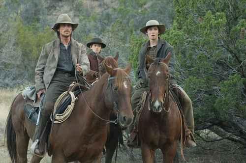 Christian Bale, Ben Petry, & Logan Lerman as Dan, Mark, & William Evans