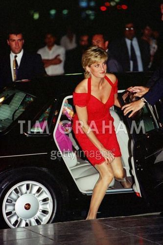 Diana, Princess of Wales, arriving for a avondeten, diner in Argentina
