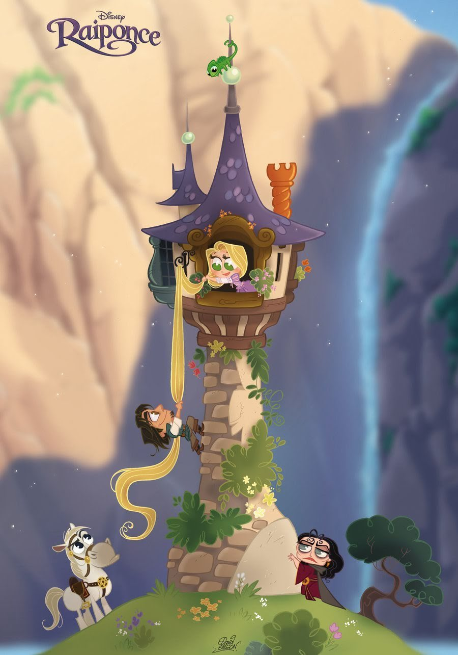 Flynn climbing the tower