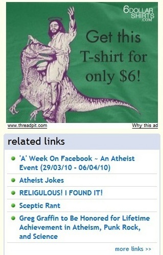 Atheism wallpaper entitled Jesus Riding A Dinosaur ~ More Hilarious Atheism Spot Advertising
