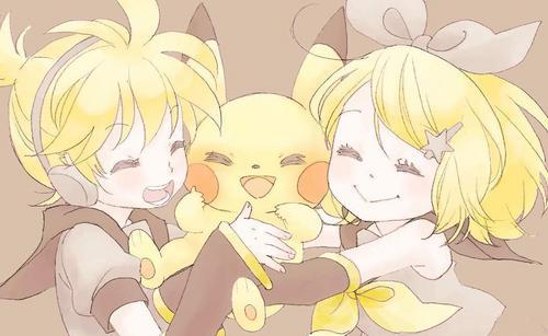 Rin und Len Kagamine Hintergrund with Anime titled Kagamine