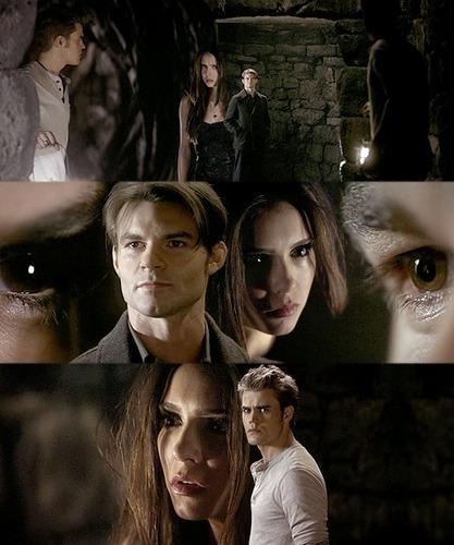 Katherine , Stefan , Elijah 2x11