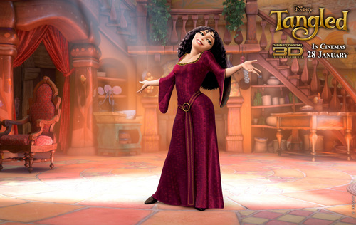 Rapunzel - L'intreccio della torre wallpaper containing a cena dress called Mother Gothel´s wallpaper