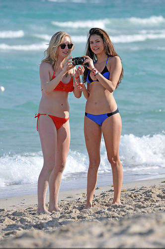 Candice Accola پیپر وال containing a bikini entitled New/Old تصاویر of Candice and Nina at South Beach, Miami (HQ)