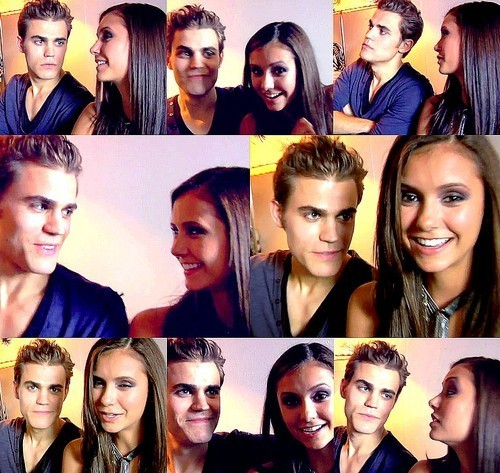 Paul Wesley and Nina Dobrev wallpaper probably containing a portrait entitled Paul & Nina
