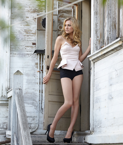 Yvonne Strahovski wallpaper probably containing hot pants, a swimsuit, and an underwear titled Yvonne Strahovski Photoshoot in Issue 17 of Pop Magazine