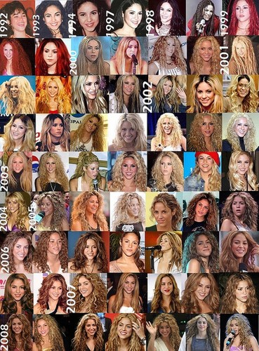 shakira hair 1992-2008