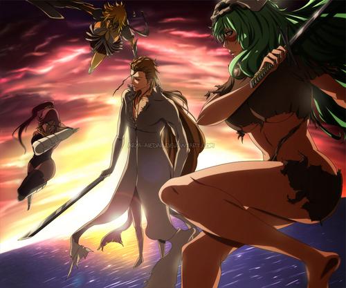 Aizen vs. Yoruichi,Hallibel and Nelliel