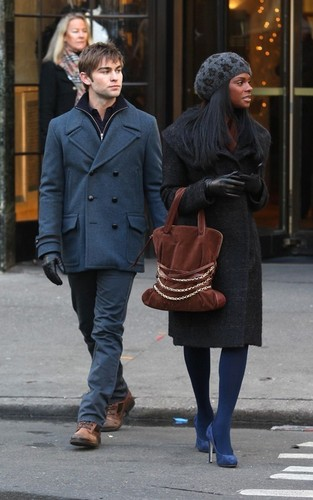 Chace with Tika Sumpter on Set