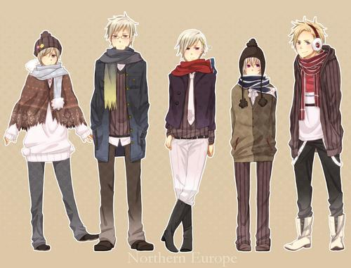 Hetalia wallpaper possibly containing an outerwear, a wicket, and a tabard called Denmark, Finland, Iceland, Norway and Sweden