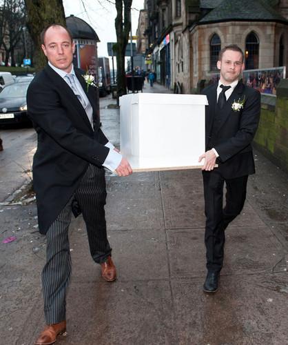 Dominic at Billy Boyd's wedding last December 29: