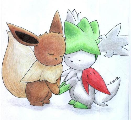 Eevee and Shaymin Sky Form