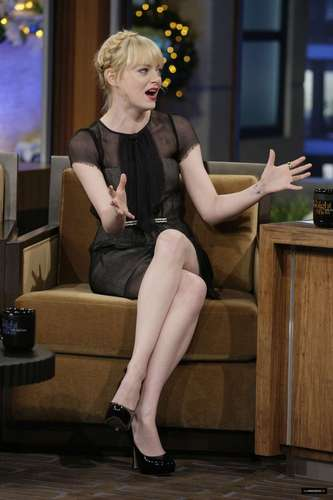 "Emma Stone on ""Late Night toon with vlaamse gaai, jay Leno"" Stills"