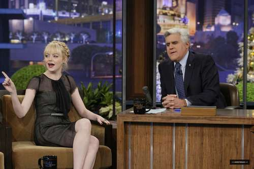 "Emma Stone on ""Late Night hiển thị with chim giẻ cùi, jay Leno"" Stills"