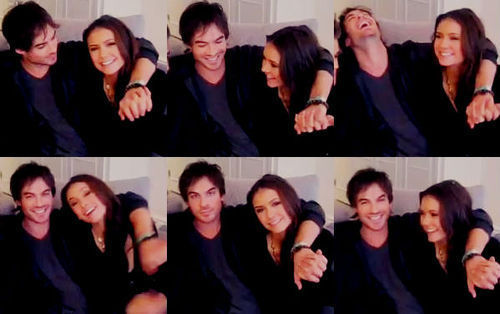 Ian Somerhalder and Nina Dobrev wallpaper with a well dressed person and a portrait called Ian & Nina