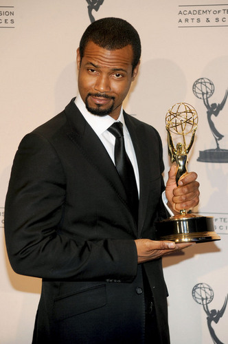 Isaiah Mustafa with his Emmy!