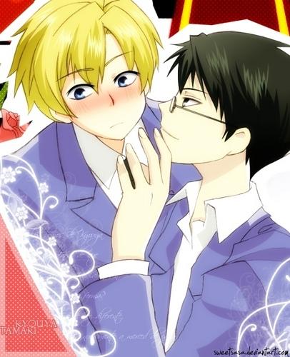 Host Club - le lycée de la séduction fond d'écran containing animé called Kyoya and Tamaki