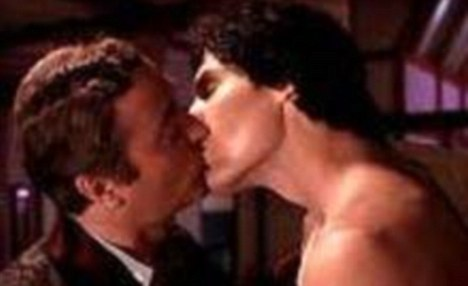 Michael Caine and Christopher Reeve - gay-celebrity-kisses Photo