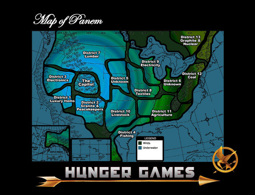 The Hunger Games wallpaper containing anime titled My Well Thought Out Map of Panem