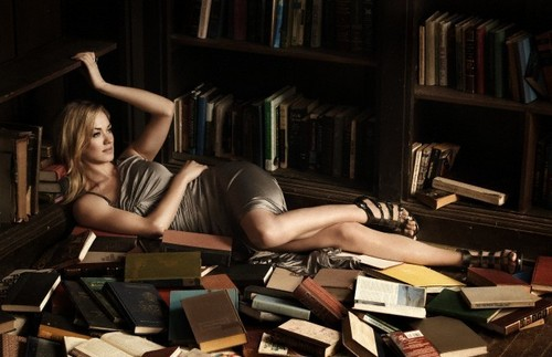 Yvonne Strahovski wallpaper containing an athenaeum, a bookcase, and a library called Outtake: Yvonne Strahovski Photoshoot in Issue 17 of Pop Magazine