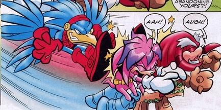 Predator Hawk attacks Locke and Julie-Su