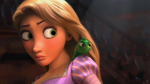 Disney's Rapunzel wallpaper containing a portrait entitled Rapunzel & Pascal
