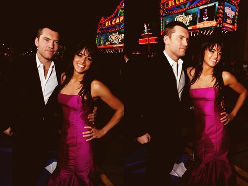 Sam Worthington 壁纸 containing a business suit, a bridesmaid, and a dress suit titled SAM