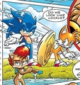 Tails fanning off Sonic and Sally