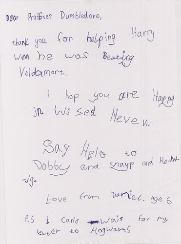 an adorable letter to Dumbledore :D