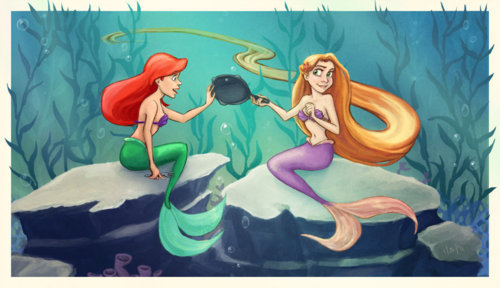 Ariel and Rapunzel <3