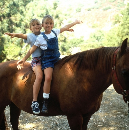 Mary-Kate & Ashley Olsen wallpaper with a horse trail, a horse wrangler, and a racehorse titled Ashley Fuller and Mary-Kate Olsen