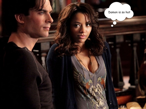 Damon & Bonnie wallpaper possibly containing a brasserie entitled Damon is so hot