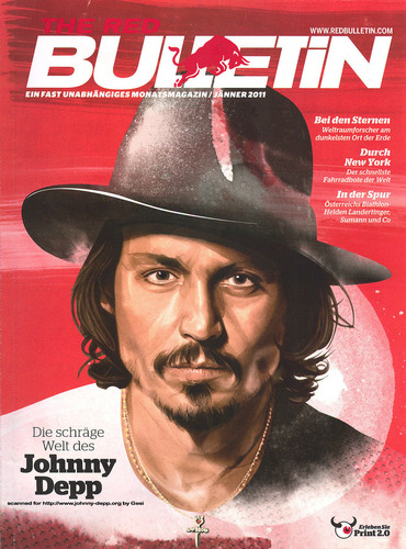 """Johnny Depp is on cover of """"The Red Bulletin"""", an Austrian magazine 2011"""