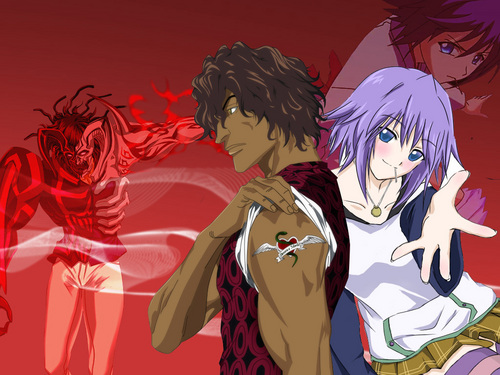 Rosario Vampire wallpaper with anime called Mizore and Chad!! XD