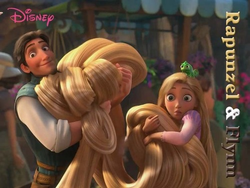 Rapunzel and Flynn in Town