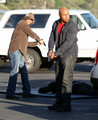 Stars On The Set Of 'NCIS: Los Angeles' In Pacific Palisades