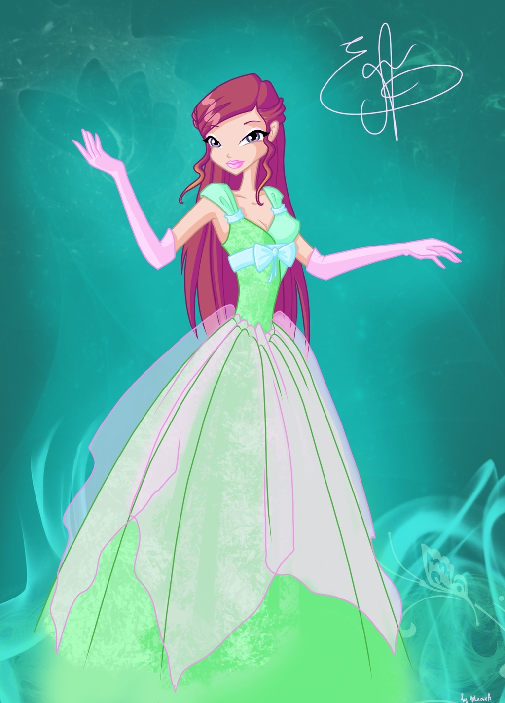 -Winx- Roxy in a Princess Ball - the-winx-club fan art