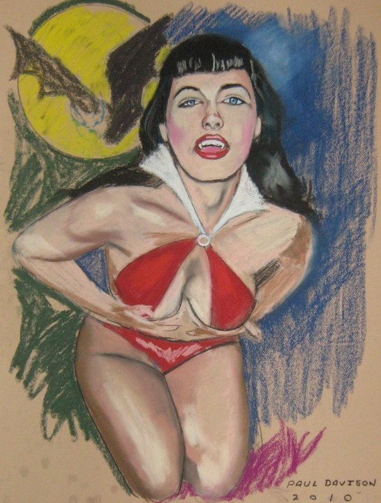 Bettie Page as Vampirella,painting oleh Paul Davison
