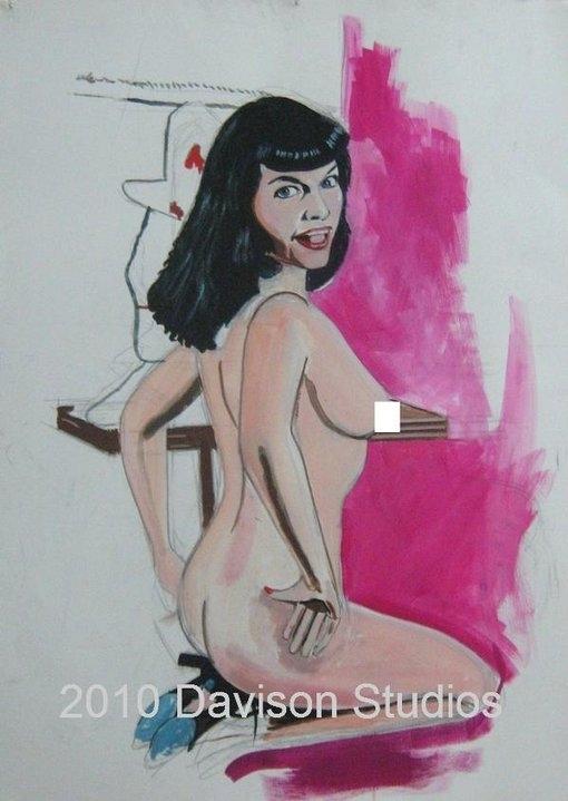 Bettie Page,painting oleh Paul Davison