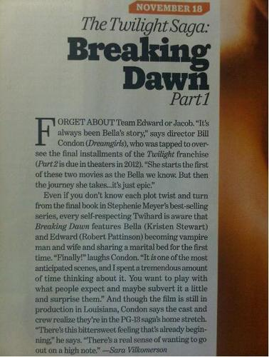 Entertainment Weekly Scans Of 'Breaking Dawn' fotografia & Article!