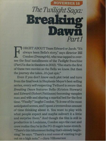 Entertainment Weekly Scans Of 'Breaking Dawn' photo & Article!