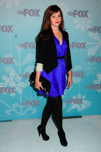 Amber Tamblyn achtergrond probably containing a well dressed person, an outerwear, and an overgarment called vos, fox 2011 Winter All-Star Party in Los Angles, January 11, 2011