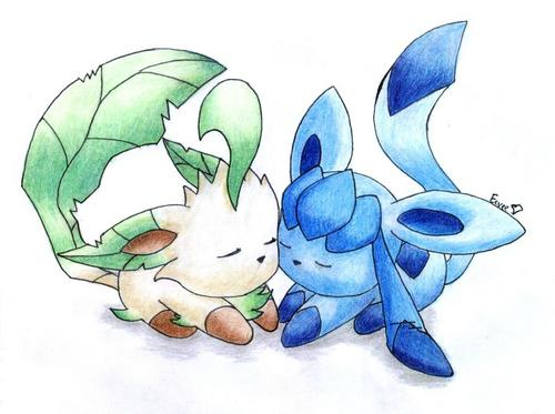 Leafeon and Glaceon l'amour