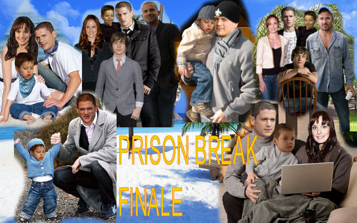 Prison Break Cast karatasi la kupamba ukuta probably containing a sign and a laptop titled PRISON BREAK - FINALE