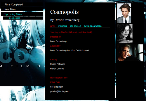 Rob's Cosmopolis Gets a Start Date. Old Promo Teaser Poster from Cannes 2010