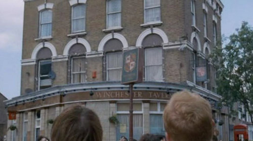 Shaun of the Dead wallpaper with a brownstone, a street, and a row house called Shaun of the Dead