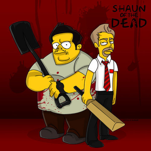 Shaun of the Dead wallpaper containing anime titled Simpsons Shaun of the Dead