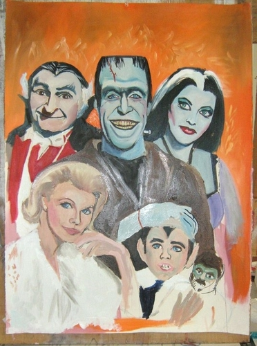 The Munsters oil painting in progress por Paul Davison