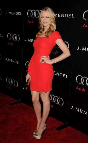 Yvonne Strahovski wallpaper probably with a tennis pro, a tennis player, and a sign titled Yvonne Strahovski @ the 'Audi & J Mendel Celebrate the 2011 Golden Globe Awards' Event